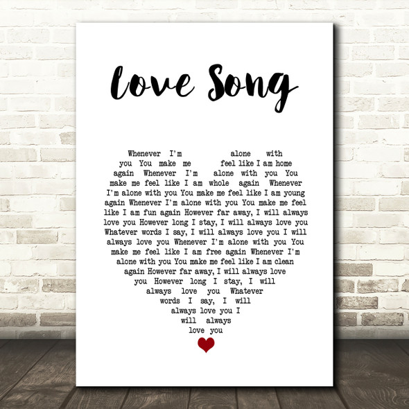 311 Love Song White Heart Song Lyric Wall Art Print