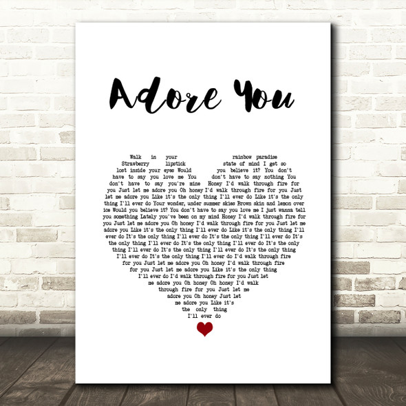Harry Styles Adore You White Heart Song Lyric Wall Art Print