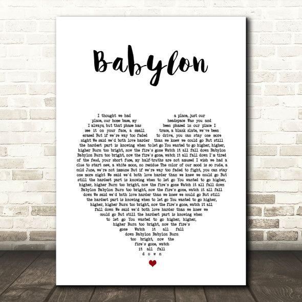 5 Seconds Of Summer Babylon White Heart Song Lyric Wall Art Print