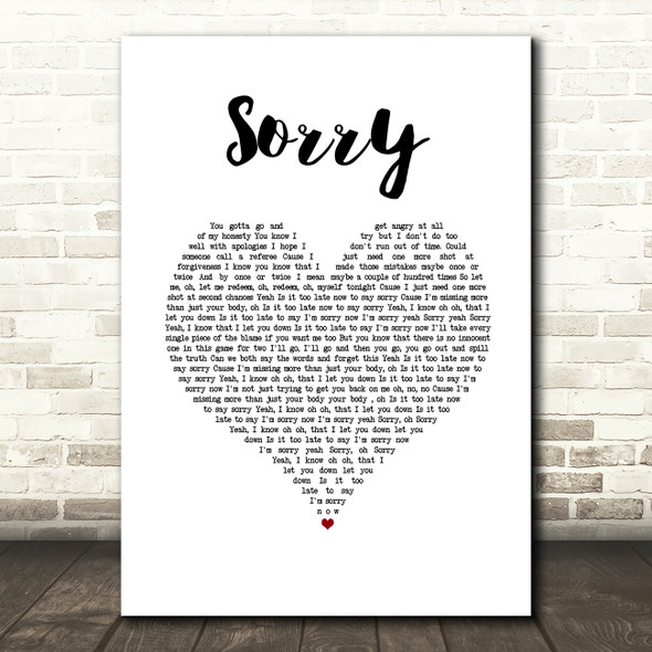 Justin Bieber Sorry White Heart Song Lyric Wall Art Print
