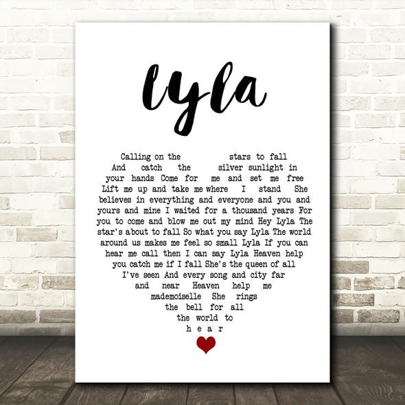 Oasis Lyla White Heart Song Lyric Wall Art Print