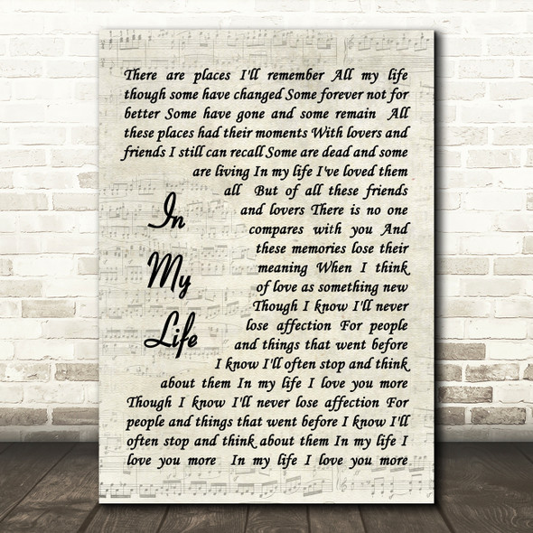 The Beatles In My Life Quote Song Lyric Print