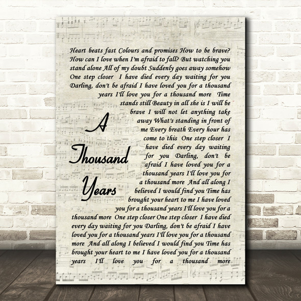 Christina Perri A Thousand Years Quote Song Lyric Print