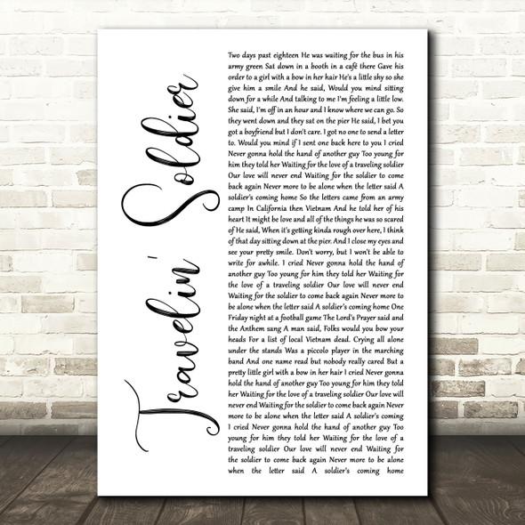 Dixie Chicks Travelin' Soldier White Script Song Lyric Wall Art Print