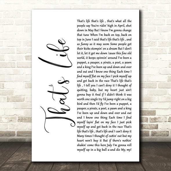 Frank Sinatra That's Life White Script Song Lyric Wall Art Print