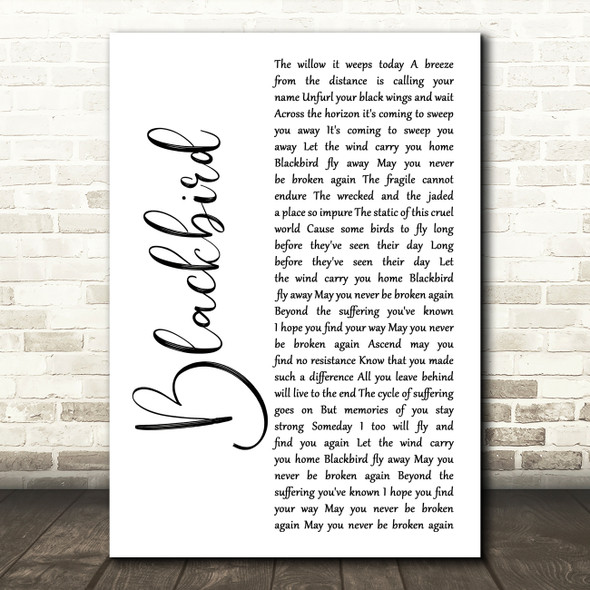 Alter Bridge Blackbird White Script Song Lyric Wall Art Print