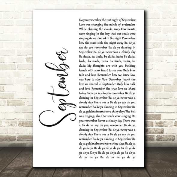 Earth, Wind And Fire September White Script Song Lyric Wall Art Print