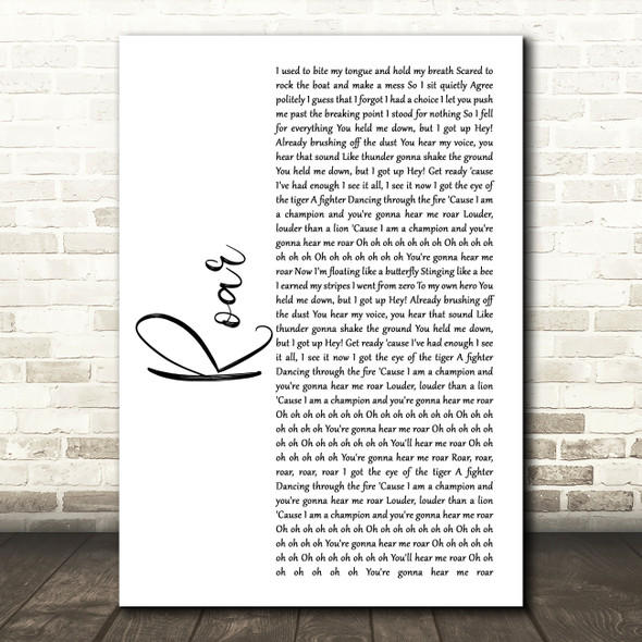 Katy Perry Roar White Script Song Lyric Wall Art Print