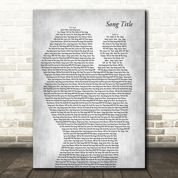 Any Song Lyrics Custom Mother & Baby Grey Song Lyric Print