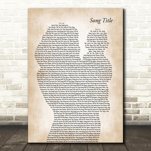 Any Song Lyrics Custom Mother & Baby Song Lyric Print