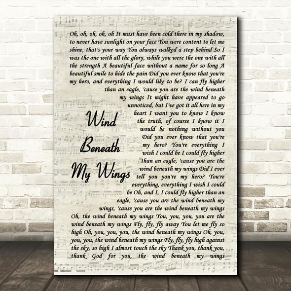Bette Midler Wind Beneath My Wings Song Lyric Vintage Script Quote Print