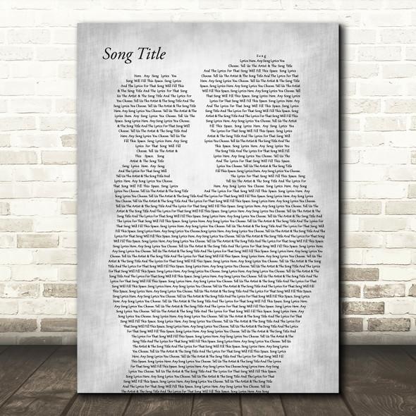Any Song Lyrics Custom Father & Child Grey Song Lyric Print