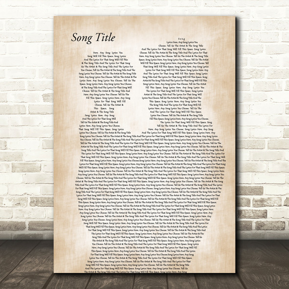Any Song Lyrics Custom Father & Child Song Lyric Print