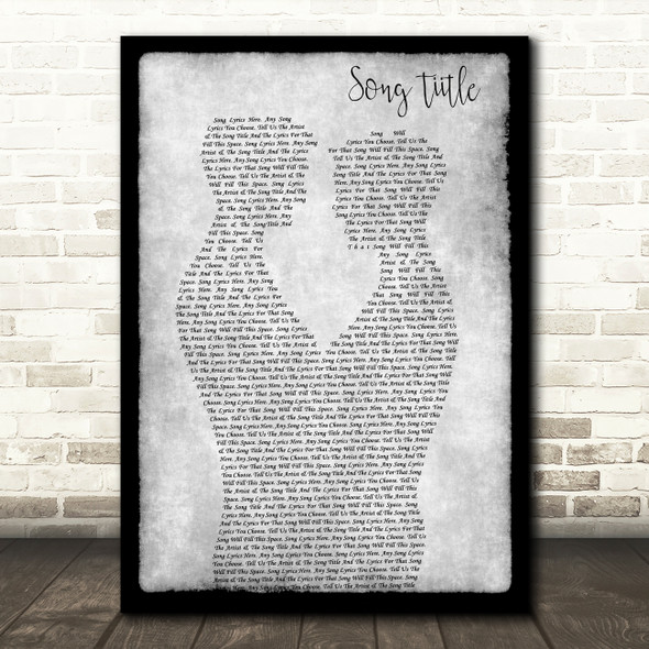 Any Song Lyrics Custom Gay Couple Two Men Dancing Grey Song Lyric Print