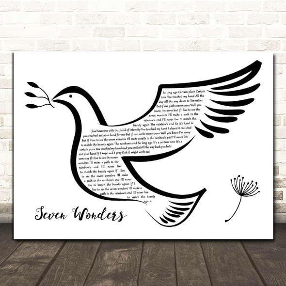 Fleetwood Mac Seven Wonders Black & White Dove Bird Song Lyric Print