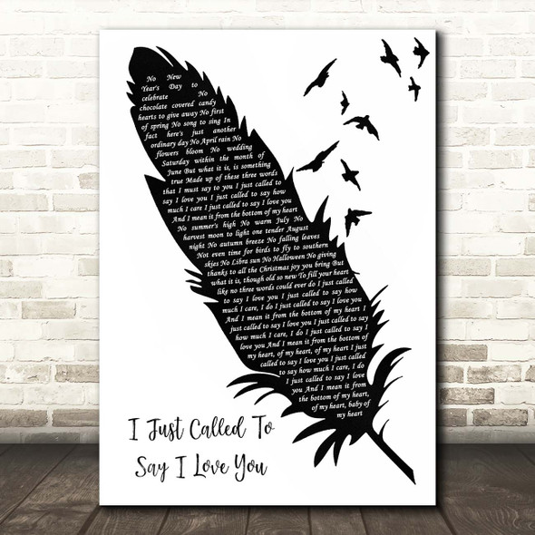 Stevie Wonder I Just Called To Say I Love You Black & White Feather & Birds Song Lyric Print