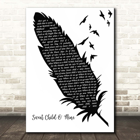 Guns N' Roses Sweet Child O' Mine Black & White Feather & Birds Song Lyric Print