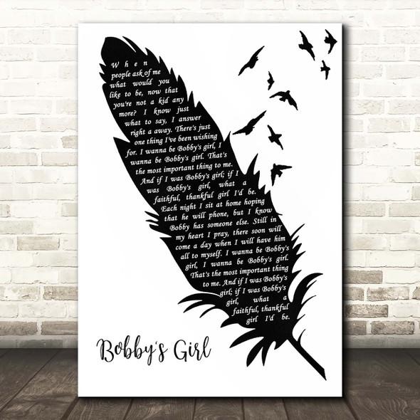 Marcie Blane Bobby's Girl Black & White Feather & Birds Song Lyric Print