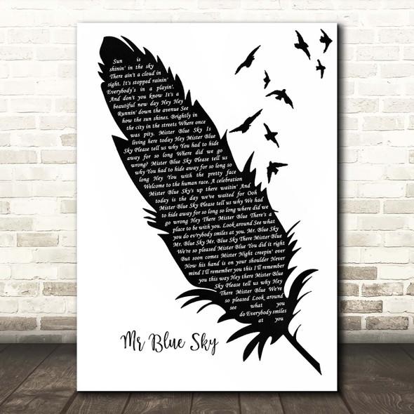 ELO Mr Blue Sky Black & White Feather & Birds Song Lyric Print