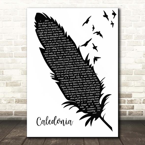 Dougie MacLean Caledonia Black & White Feather & Birds Song Lyric Print