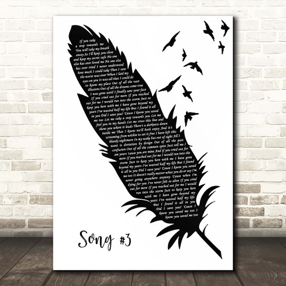 Stone Sour Song #3 Black & White Feather & Birds Song Lyric Print