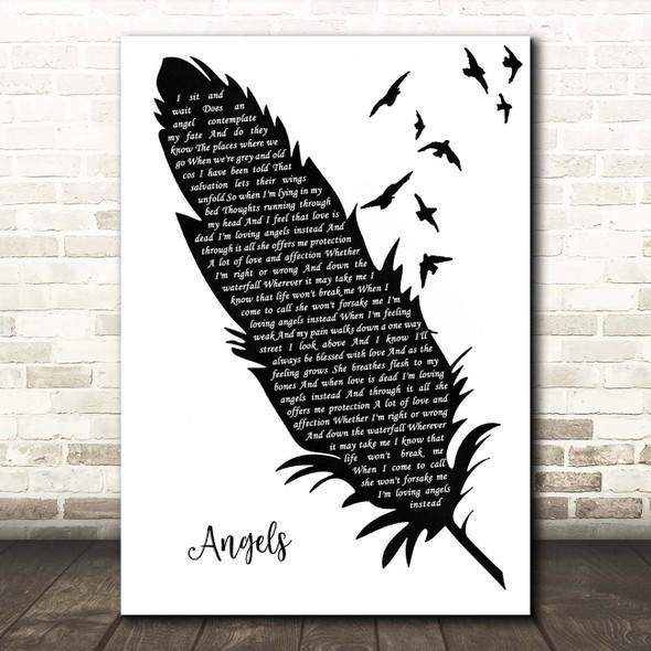 Robbie Williams Angels Black & White Feather & Birds Song Lyric Print