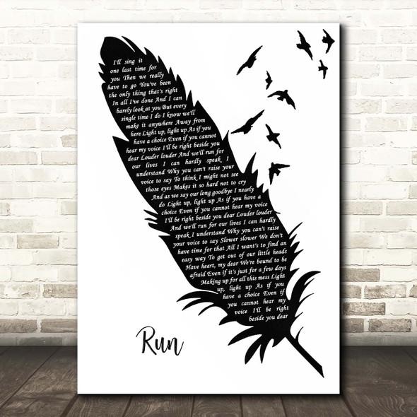 Snow Patrol Run Black & White Feather & Birds Song Lyric Print