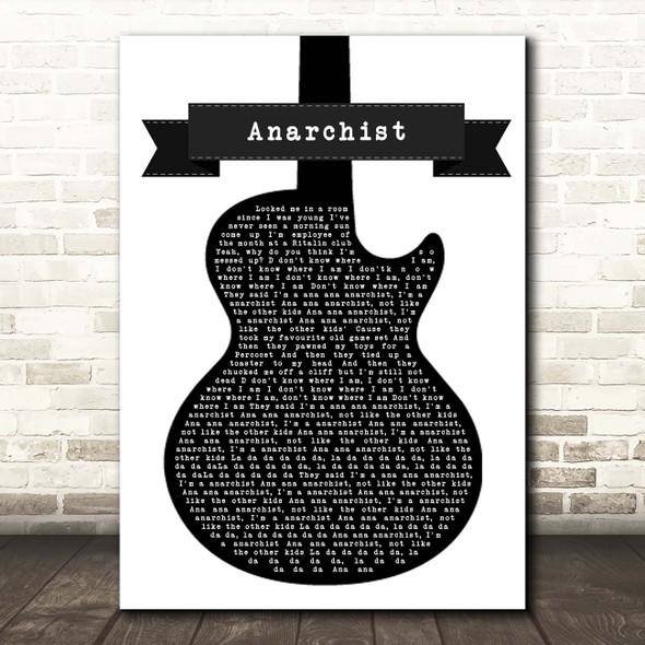 YUNGBLUD Anarchist Black & White Guitar Song Lyric Print