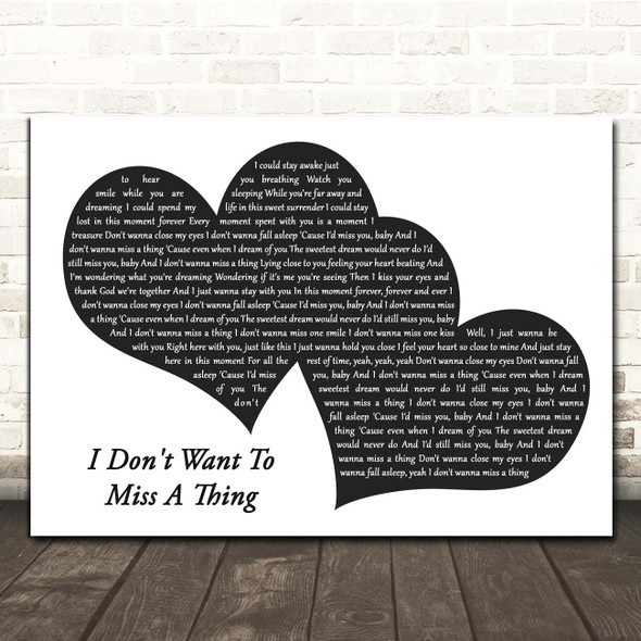 Aerosmith I Don't Want To Miss A Thing Landscape Black & White Two Hearts Song Lyric Print