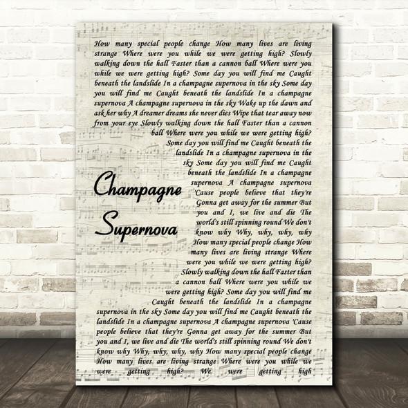 Oasis Champagne Supernova Song Lyric Vintage Script Quote Print