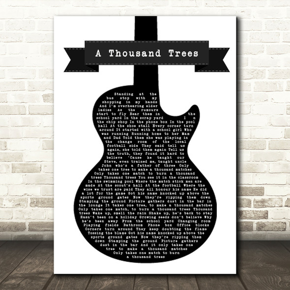Stereophonics A Thousand Trees Black & White Guitar Song Lyric Quote Print