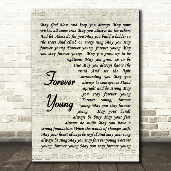 Forever Young Bob Dylan Script Quote Song Lyric Print