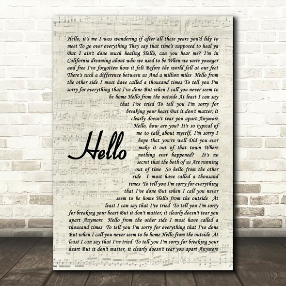 Hello Adele Script Quote Song Lyric Print