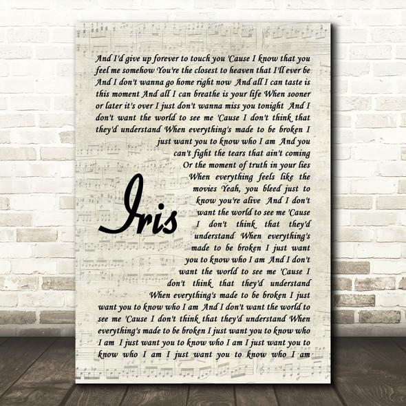 Iris Goo Goo Dolls Script Quote Song Lyric Print