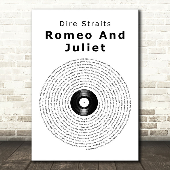 Dire Straits Romeo And Juliet Vinyl Record Song Lyric Quote Print