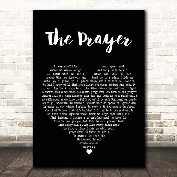 Celine Dion & Andrea Bocelli The Prayer Black Heart Song Lyric Print