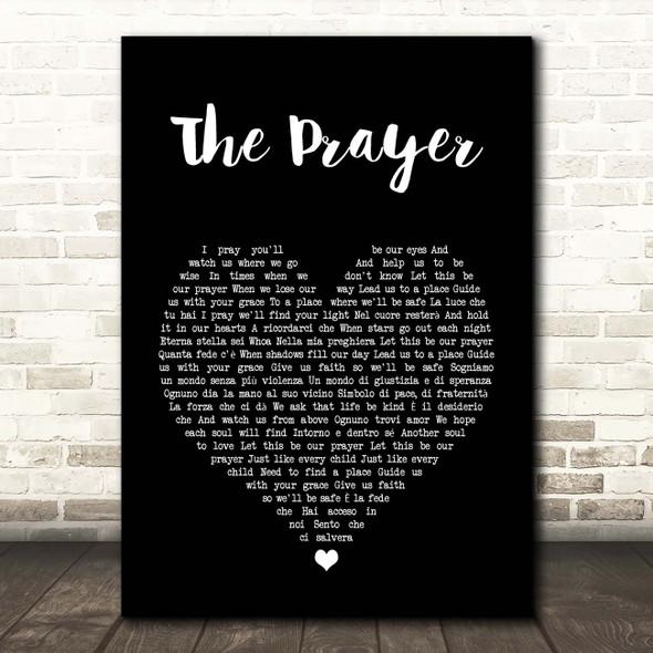 Andrea Bocelli & Celine Dion The Prayer Black Heart Song Lyric Print