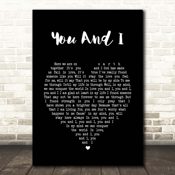 Stevie Wonder You And I Black Heart Song Lyric Print