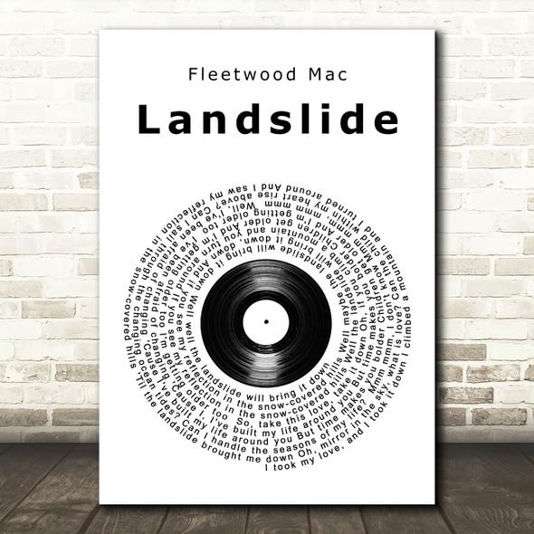 Fleetwood Mac Landslide Vinyl Record Song Lyric Quote Print