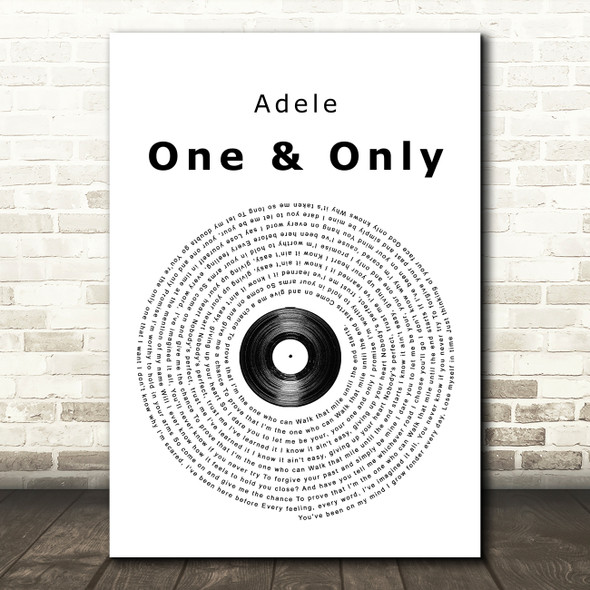 Adele One And Only Vinyl Record Song Lyric Quote Print