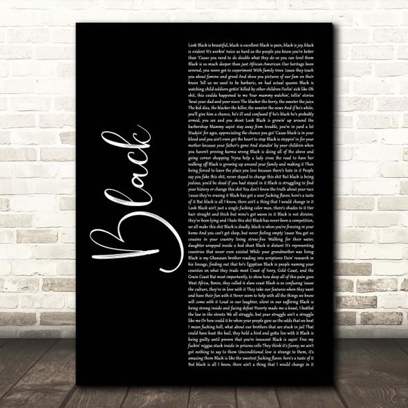 Dave Black Black Script Song Lyric Print