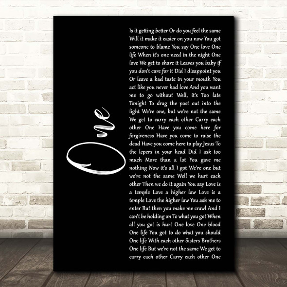 U2 One Black Script Song Lyric Print