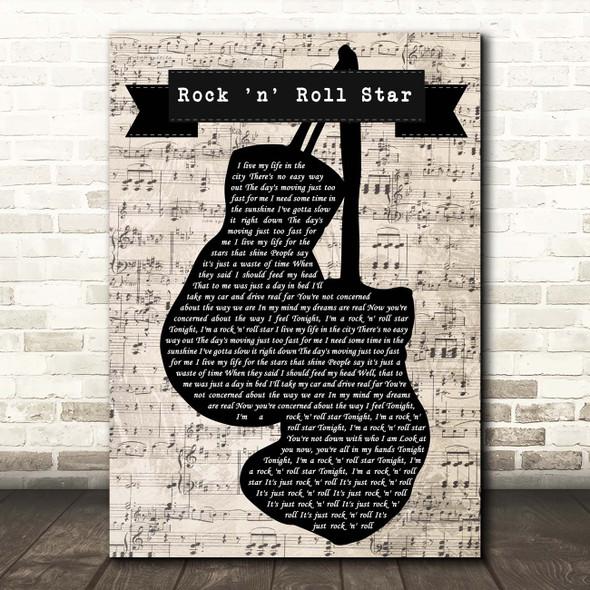 Oasis Rock 'n' Roll Star Music Script Boxing Gloves Song Lyric Print
