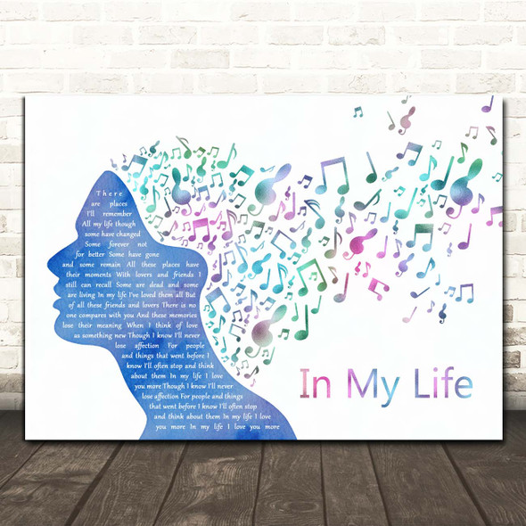The Beatles In My Life Colourful Music Note Hair Song Lyric Print