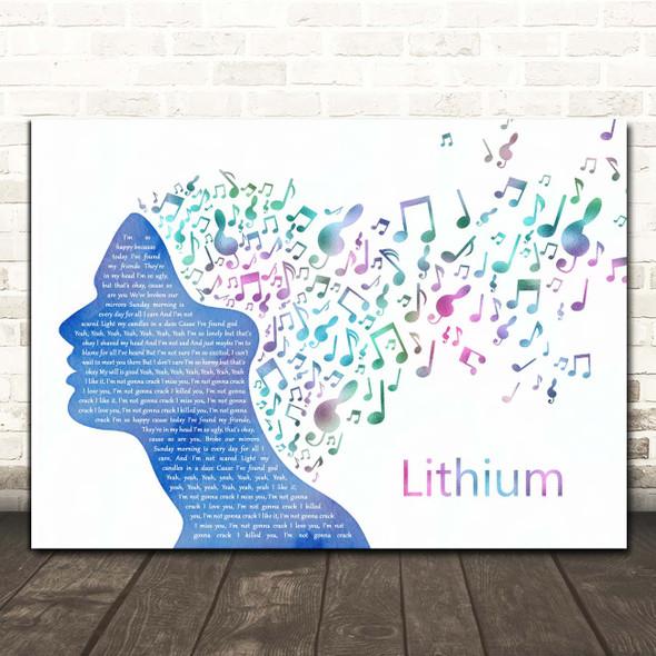 Nirvana Lithium Colourful Music Note Hair Song Lyric Print