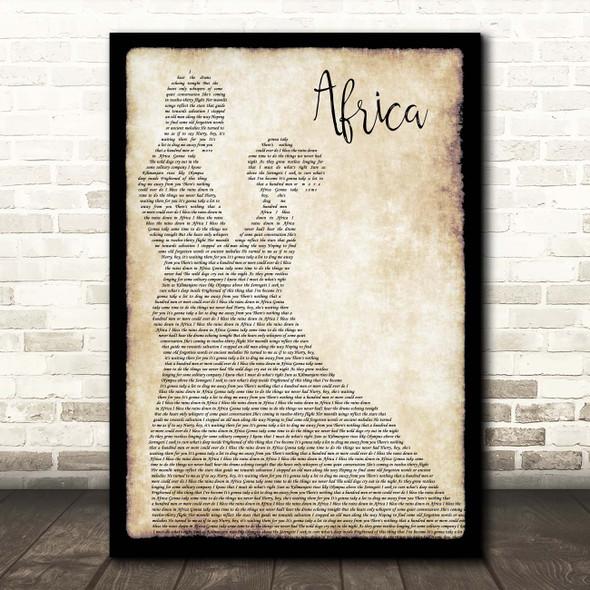 Toto Africa Man Lady Dancing Song Lyric Print