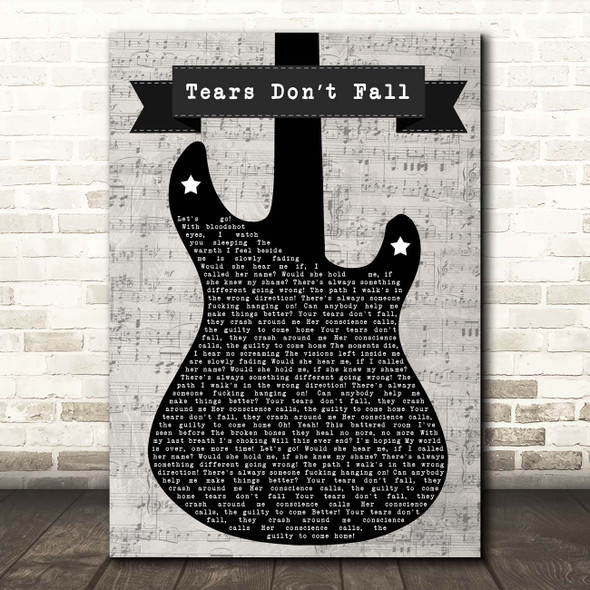 Bullet for My Valentine Tears Don't Fall Electric Guitar Music Script Song Lyric Print