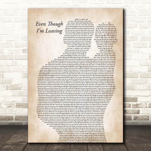 Luke Combs Even Though I'm Leaving Father & Baby Song Lyric Print