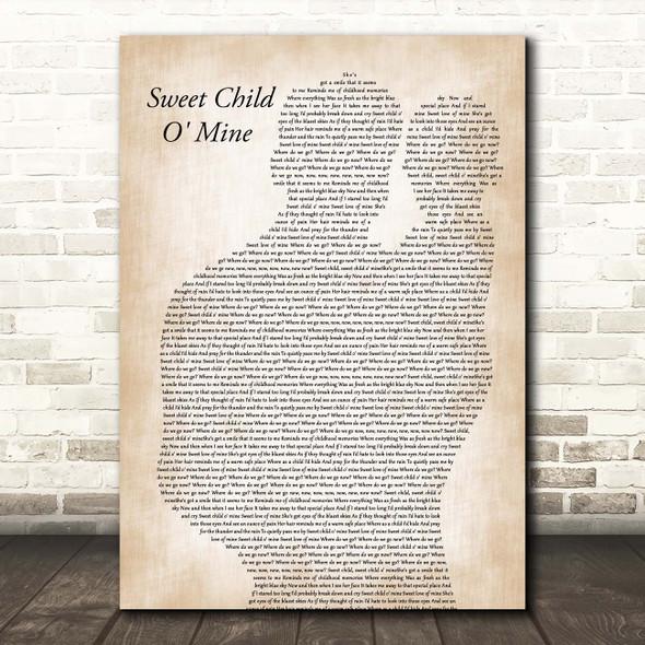 Guns N Roses Sweet Child O' Mine Father & Baby Song Lyric Print