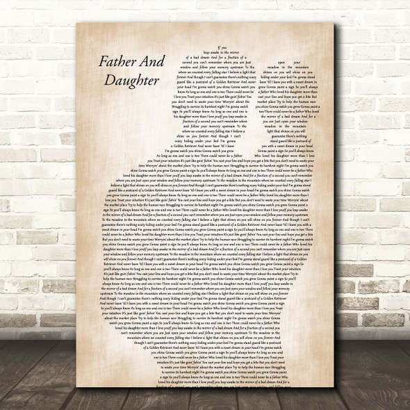 Paul Simon Father And Daughter Father & Baby Song Lyric Print